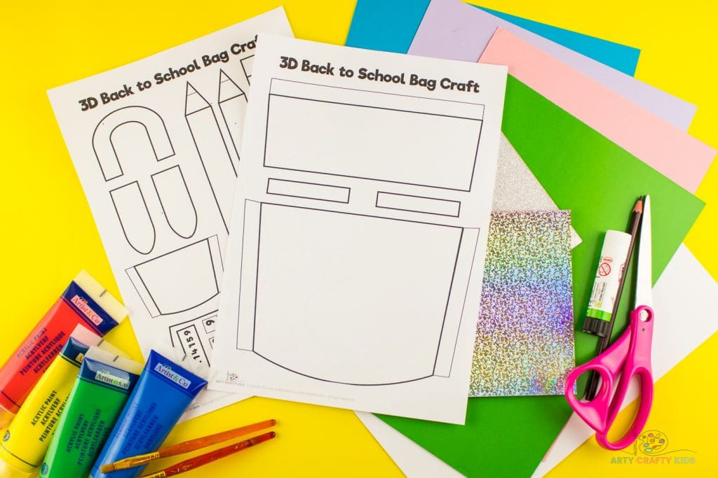 Image showing materials and printable 3D school backpack template.