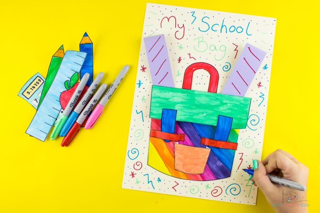 Image showing a complete 3D school bag design with swirls and six-zag patterns added to the background.