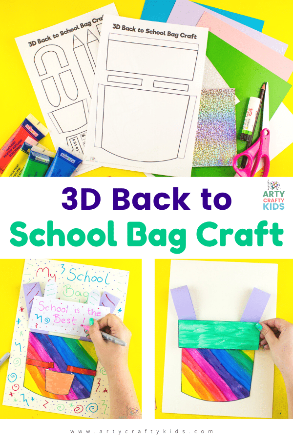 3D School Backpack Craft for Kids - Get into the back to school mood with this super fun and easy design your own 3D school bag craft, complete with a school backpack template and accessories to fill the backpack.