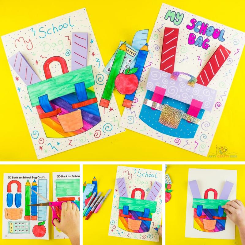 3D School Backpack School Kids - A cool back to school craft.