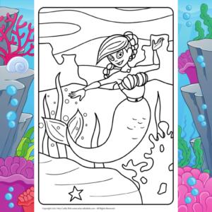 Happy Mermaid Coloring Page