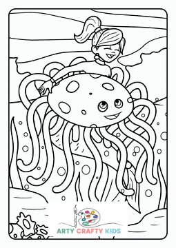 Mermaid and Large Jellyfish Coloring Page
