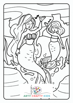 Mermaid and Mer-child Singing Coloring Page