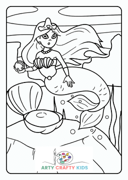 Mermaid finding a Peal Coloring Page