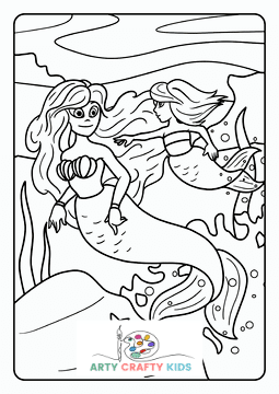 Mermaids and Mer-child Coloring Page