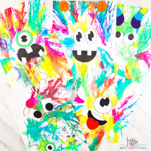 Learn how to create Monster Art with the Blow Painting with Straws technique! This is an amazingly fun, creative and easy art project for kids, where kids will learn how to use straw painting in their monster craft creations, while exploring color, patterns and shape.