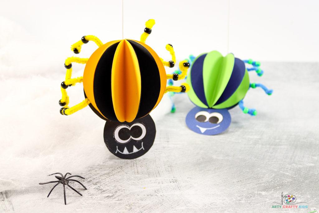 Artisanat d'araignée en papier 3D amusant et facile à fabriquer pour les enfants - l'artisanat d'araignée parfait pour les enfants d'âge préscolaire et les jeunes enfants à faire cet Halloween.