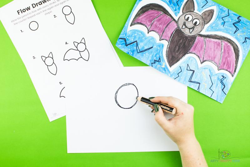 Dessinez un cercle pour créer la tête de la chauve-souris.