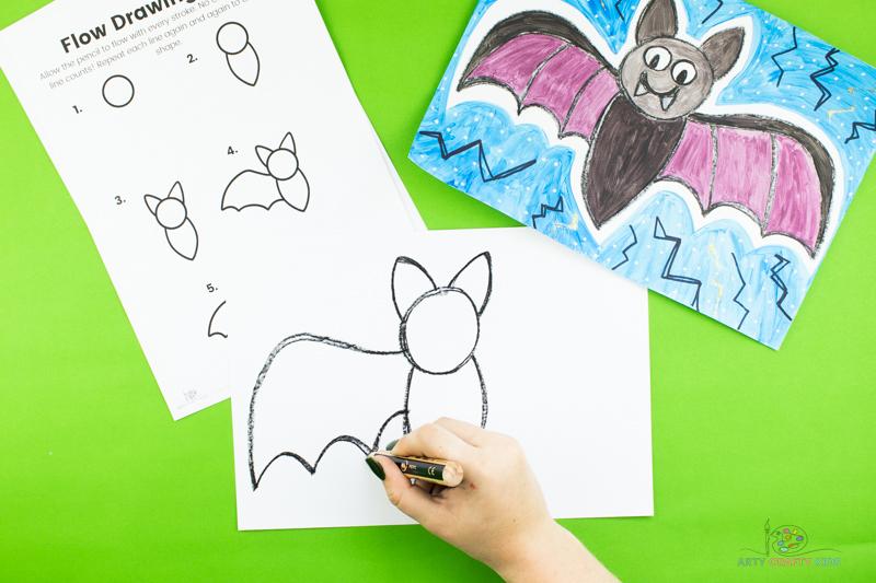 Ensuite, dessinez l'aile gauche des chauves-souris.