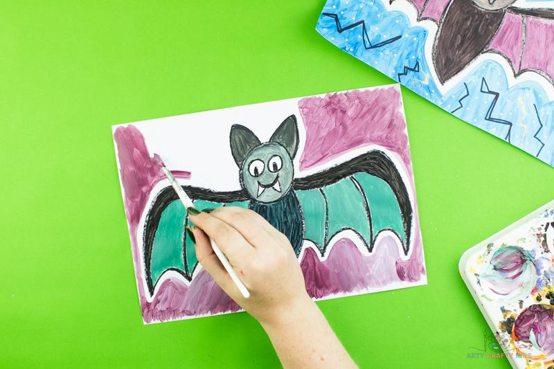 Créez un arrière-plan pour la chauve-souris pour terminer le dessin.