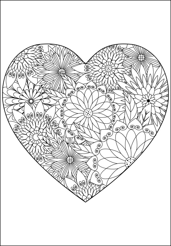 Detailed flower heart arty crafty kids for Flowers and hearts coloring pages