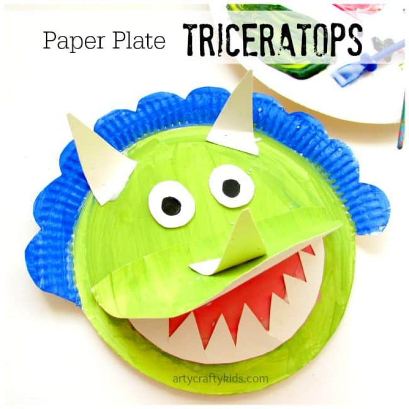 Paper plate triceratops plate craft with teeth and horns